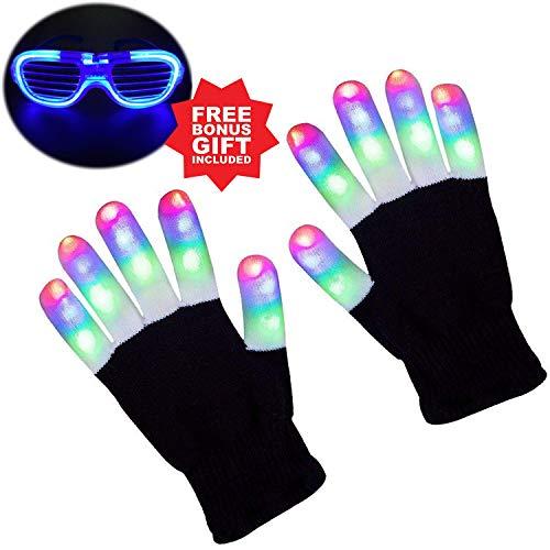 Gamtec Handschuhe Kinder Finger Light Flashing LED Warme Handschuhe mit Lichtern für Geburtstagslicht Show Party Weihnachten Xmas Dance Extra eine LED-Brille für mehr Spaß