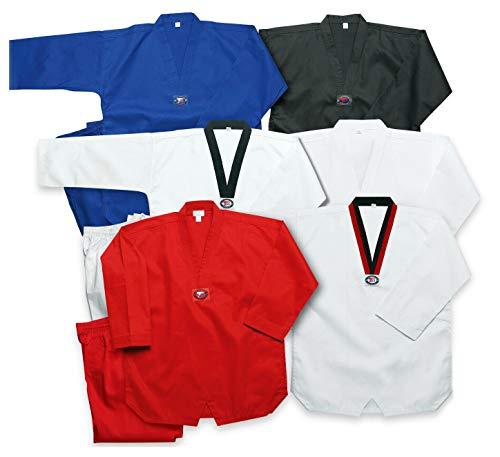 Prowin Corp Taekwondo V-Neck Gi Ribbed Fabric Tae Kwon Do Uniform with White Belt (Black, 6)
