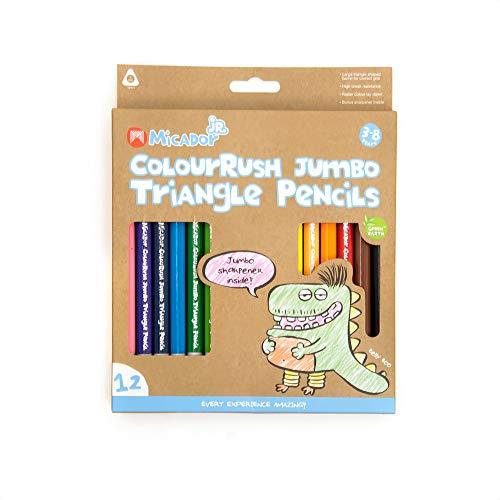 Micador jR. Colourush Jumbo Triangle Pencils, 12-Colors
