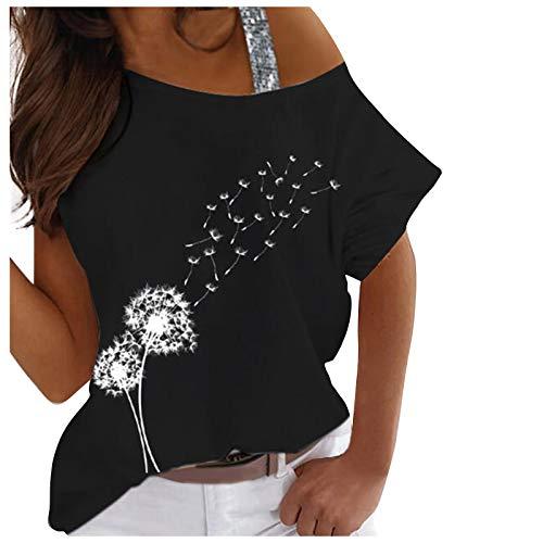 FMYONF Camiseta de mujer con hombros descubiertos, manga corta, sudadera, sexy, hombros fríos, elegante, impresión gráfica, blusa de verano, Negro , XL
