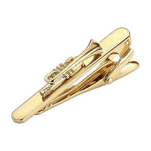 AmDxD Bijoux Acier Inoxydable Hommes Pince à Cravate Or Trompette, Instrument Musical Place, 5X0.7CM Boutons de Manchette