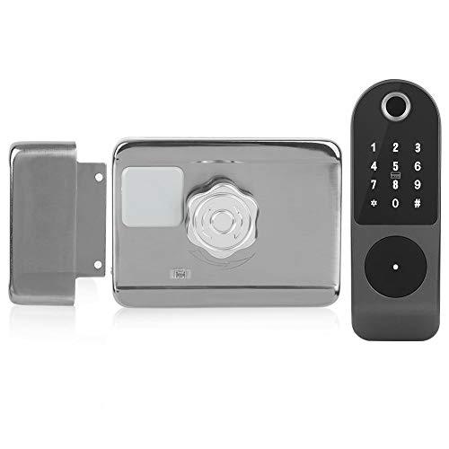 Cerradura de puerta electrónica WiFi, contraseña de huella digital Tarjeta IC Cableado de llave Control de acceso de puerta digital gratuito para Tuya, cerradura de puerta WiFi con pantalla táctil Cap