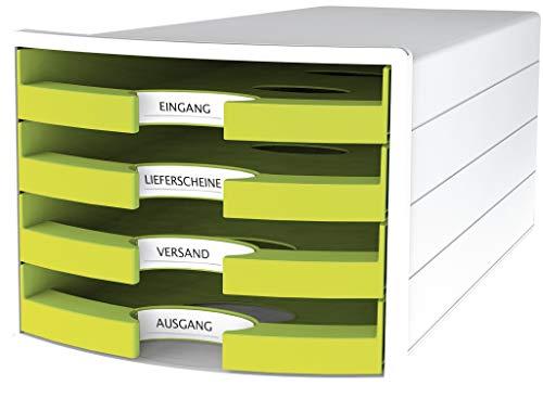 HAN Schubladenbox IMPULS 1013-50 in lemon/weiß/ Stapelbare Sortierablage mit 4 großen, offenen Schubladen für DIN A4/C4/ inkl. Beschriftungsschilder Trend Colour lemon