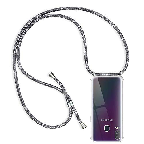 RosyHeart-EU Funda para Samsung Galaxy A40, Transparente Silicona Carcasa con Cuerda para Samsung A40, Ultrafina Suave TPU Gel Case con Cuerda para Colgar Ajustable Anti Golpes Protector Case Gris