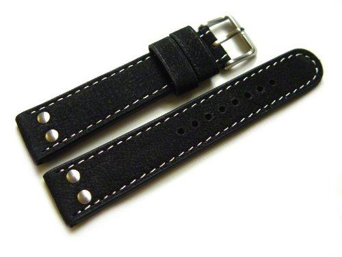 Uhrenarmband - Orig. Watchband Berlin - Wasserbüffel - 2 Nieten - schwarz - 22mm