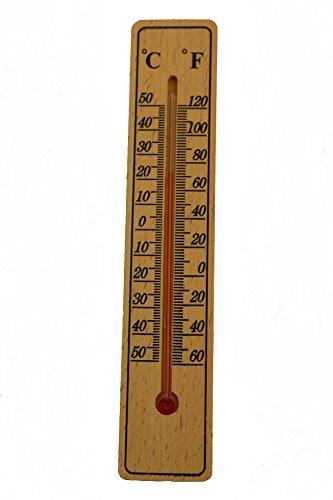 gluecks Shop Madera termómetro en celsius y Fahrenheit Medido 20x 4cm, apta para interior y exterior–+/-50grados