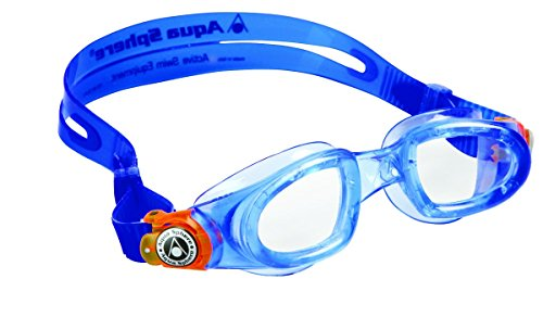 Aqua Sphere Unisex Youth Moby Kid Gafas de natación, azul naranja/cristal transparente,...