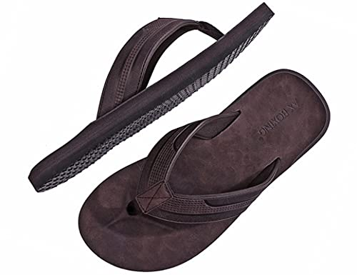 ARRIGO BELLO Chanclas Hombre Flip Flops Cuero Sandalias Verano Antideslizante Piscina Playa Interior Talla 41-46(DK. marrón, 42)