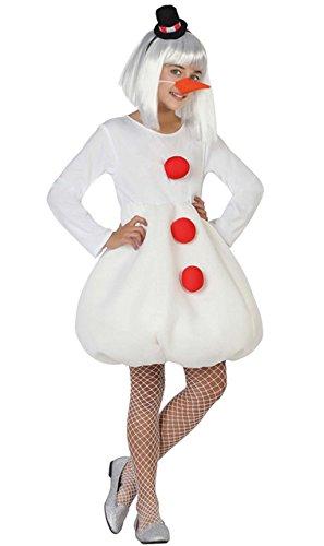 Atosa-26741 Atosa-26741-Disfraz Muñeco Nieve niña Infantil-Talla Navidad, Color Blanco, 10 a 12 años (26741)