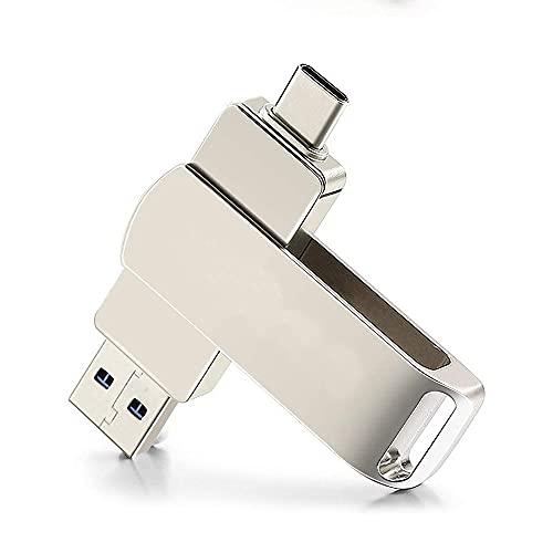 Chiavetta USB 4 in 1 USB C Memory Stick Flash Drive in metallo ad alta velocità per i-Phone, PC, Tablet, Mac, M-acBook, USB-C Smart Phone (argento)