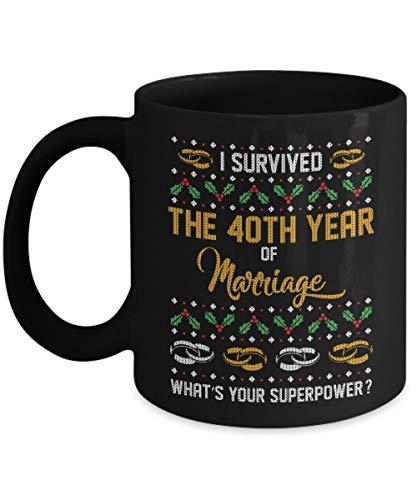 N\A Sobreviví a los 40 años de Matrimonio - Tazas Negras para té Principal, café - Gran Regalo para papá mamá Navidad
