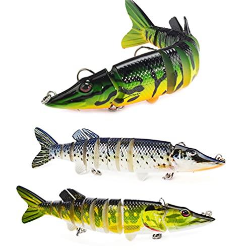 3 señuelos de pesca para lubina, trucha multiarticulada segmentada Swimbaits Wobbler crankbait de hundimiento lento señuelos de natación kits de aparejos de pesca