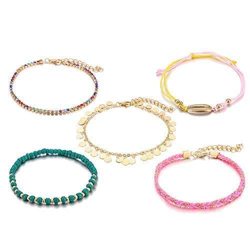U/N Bohemian Ankle Bracelets Set Multilayer Colorful Rhinestone Shell Charm Beaded Bracelets Women Anklet Foot Jewelry Gift 5Pcs