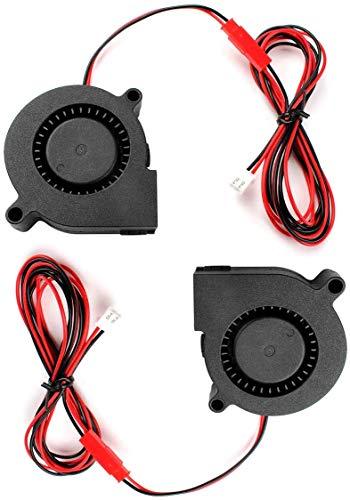 Toaiot - Ventilador de impresora 3D sin escobillas, 50 x 50 x 15 mm, 24 V, radiador de refrigeración Hotend Extruder DC con cables de extensión 110 cm para monoprice Maker/Ender 3/Pro (2 unidades)