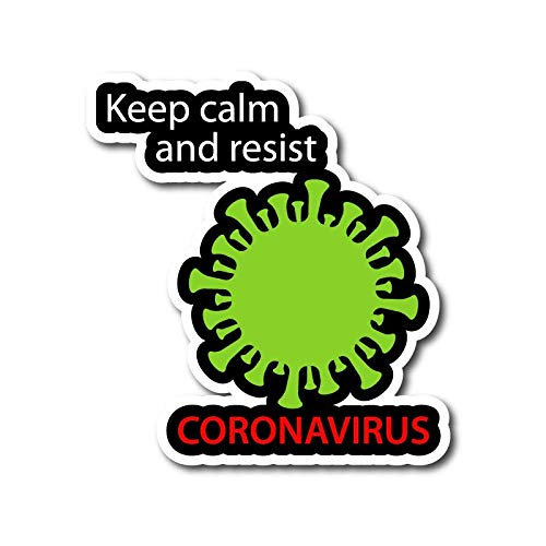 ADESIVO STICKERS KEEP CALM AND RESIST CORONAVIRUS 10X10CM