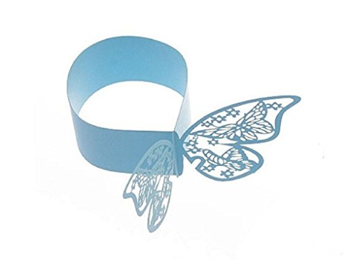 Laser Cut Papier Schmetterling Serviette Ringe Verlobungsring Hochzeit/Geburtstag/Party Tisch decoration-various colors-24 PCS blau