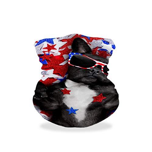 Pasamontañas para hombre, pasamontañas, bufanda de ciclismo, antipolvo, máscara de boca, bufanda, protector contra el viento, para hombres, mujeres, transpirable, transpirable, bufanda, bufanda, bufanda, diseño de bulldog con gafas de bandera estadounidense, estrellas azul y rojo