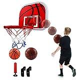 LIFEMASTER - Cesta de baloncesto infantil para exterior, con 2 baloncestos y bomba de llanta de metal, juguete de fitness, regalo perfecto para niños de 3 a 6 años