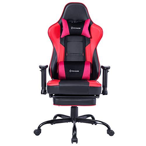 Gaming Stuhl Bürostuhl Ergonomischer mit Massage Lendenwirbelstütze- Hohe Rückenlehne Verstellbarer Schreibtischstuhl mit Fußstütze und Kopfstütze, PC-Stuhl Computerstuhl Gaming Chair (Red)