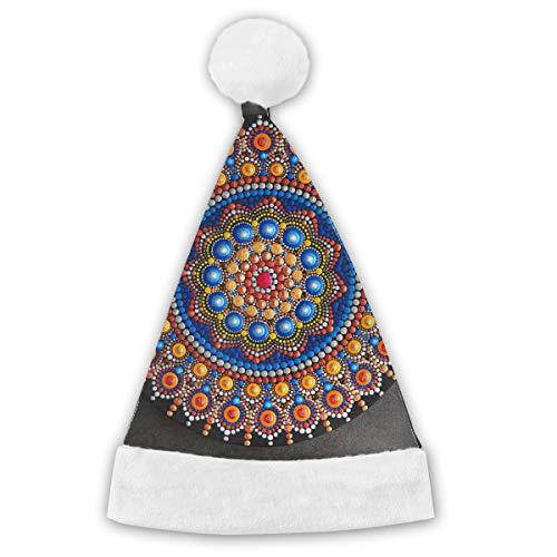 Bag hat Schöne Mandala gemalt auf grauem Weihnachtsmütze, Unisex, weiße Pelzordnung, Qualitätsweihnachtsmütze, Weihnachtsmann-Hut 2PCS