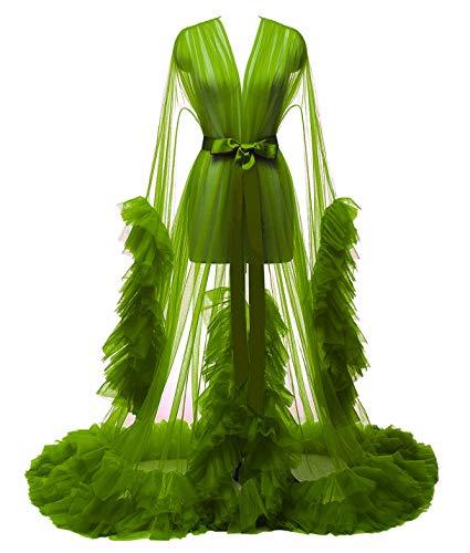 yinyyinhs Damen Lang Braut Robe Tüll Getrimmt Brautjungfer Hochzeit Bachelorette Party Nachthemd Bademantel Olivgrün Größe XXL