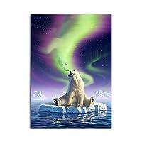 HDモジュラー写真氷河キャンバス上のホッキョクグマプリント壁アートポスターリビングルームの装飾のための家寝室の装飾60x80cmフレームなし