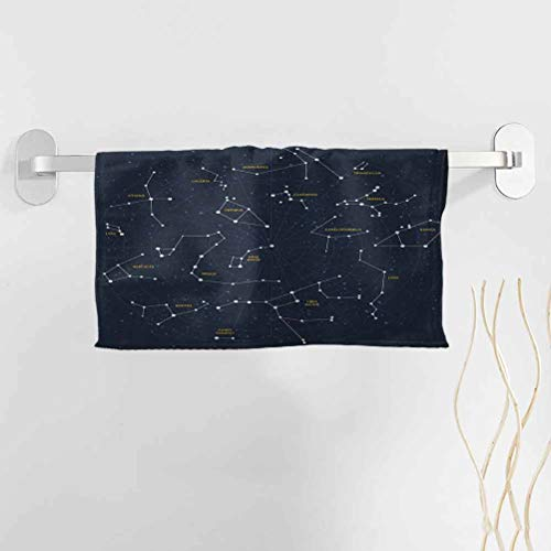 alisoso Constellation Towels Beach 35x12 Inch Sky Map Andromeda Lacerta Cygnus Lyra Hercules Draco Bootes Lynx Towel Baby Bath Towel Pattern Towel