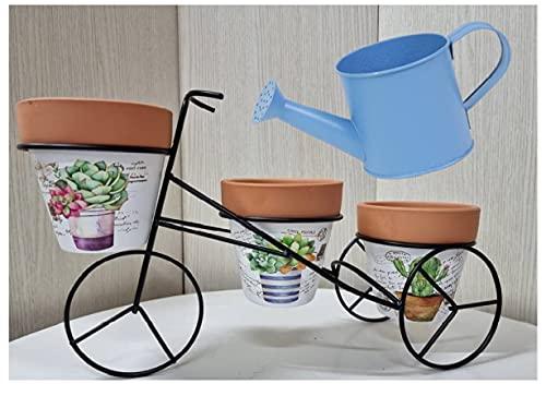 M L Macetero de Hierro Forjado en Forma de Bicicleta para 3 macetas de Barro + regadera de Laton -...