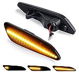 Luz intermitente D-Lumina Indicador lateral dinámico Marcador lateral compatible con Alfa-Romeo 147156 Fiat Tipo Lancia Delta III Ypsilon , Lente ahumada Sidemarker Dynamic Amber Lamps Paquete de 2