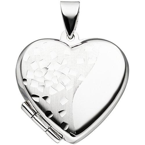 JOBO Damen-Medaillon Herz aus 925 Silber zum Öffnen für 2 Fotos
