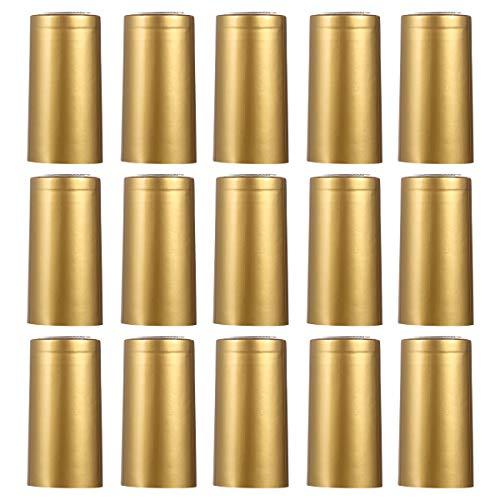 FGMGFTG Reutilizable 100 unids Botella de Vino Shrink Capsule Capsule Shrink Capsules Vino Calor Contractable Cap Vino Shrink Wrap Wrap para Botella de Boca Recta para champán/Vino (Color : Golden)