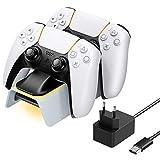 MoKo Base de Carga para Gamepad, Compatible con Controlador Inalámbrico Playstation 5 DualSense 2020, para PS5 con 2 Ranuras de Carga, Adaptador de Corriente de 5.3V 3A e Indicador LED Naranja - Negro
