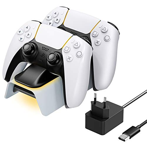 MoKo PS5 Controller Ladestation Charger, Wireless Duocharger Schnellladung mit LED Anzeige Ladegerät Stand Kompatibel mit Sony Playstation 5 Controller DualSense Wireless Controller 2020 - Schwarz