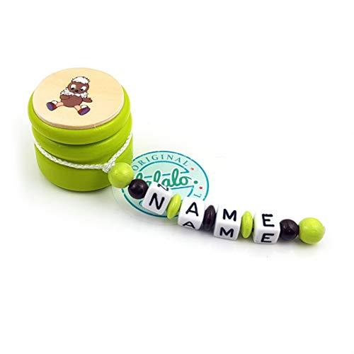 LALALO Zahndose mit Namen, Sandmann, Zahnbox Holz Milchzähne Box Gravur, Milchzahndose Zahndöschen für Kinder personalisiert (Vogel Pittiplatsch, Grün)