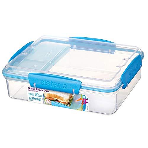Sistema To Go Collection Snack Attack Duo contenedor de almacenamiento de alimentos, 972.97 ml, transparente con azul, transparente/azul, 32.9 oz, 1