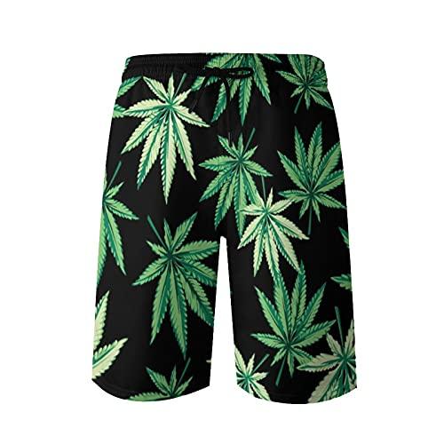 QUEMIN Troncos de baño Cortos de Playa para Hombres Vector de Fondo Transparente de Marihuana, M-XXL,