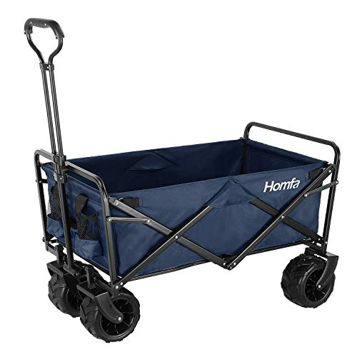Homfa Carro Transporte Plegable Carro de Mano Carro para Playa Jardín con 4 Ruedas Azul Oscuro 90x59x55.5cm