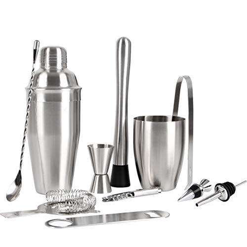 Cocktailshaker Set, Premium Edelstahl Bar Cocktailset: 700ml Cocktail Shaker Bar-Set, Drink Mixer mit integriertem Sieb, Messbecher, Barlöffel