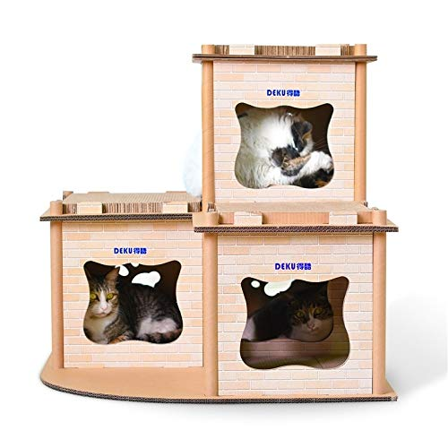 Qazwsxedc para Mascotas Arañazos lzw Gato Impreso Villa Corrugado del Gato del Gato de Papel Junta Camada Molienda Garra Juguete