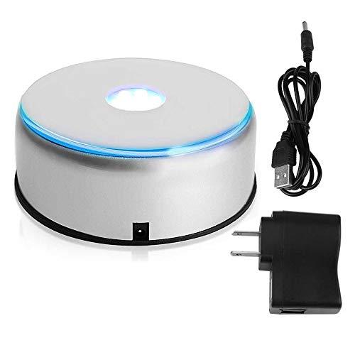 PuzFun Base de pantalla LED, rotación de 360 grados, soporte para cristal de cristal, soporte giratorio de 7 LED con cable de alimentación USB (no incluido)