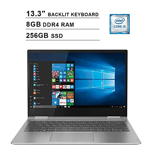 2020 Lenovo Yoga 730 13.3 Inch FHD IPS 2-in-1 Touchscreen Laptop (Intel Quad-Core i5-8250U up to 4.6GHz, 8G RAM, 256GB PCIe SSD, Intel UHD Graphics 620, Backlit Keyboard, JBL Speakers, Win 10)