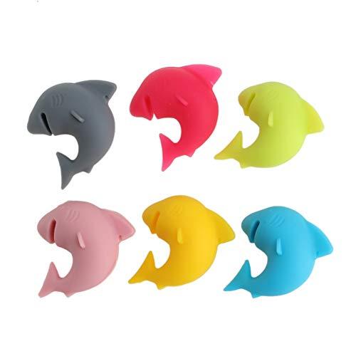 Betrothales 6 Pezzi Riconoscimento Vetro Party Shark Lip Chic Dedicato Sorriso Tag Silicone Ventosa Bicchiere di Vino Gomma Carino Quotidiano Comodo Accessori per Animali Prodotto