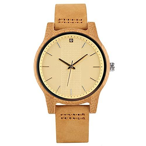 FFHJHJ Reloj de Mujer con Esfera Amarilla de Moda, Relojes de Madera Minimalistas, Reloj de Cuarzo con Pantalla de Diamantes de imitación, Reloj Femenino de Cuero marrón, Solo Reloj