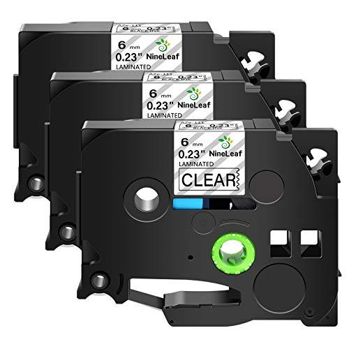 NineLeaf 3 Pack Compatible for Brother TZe-111 TZe111 TZ-111 TZ111 Label Tape 6mm 1/4' Black on Clear Standard Laminated Labeling Work with P-Touch PT-D210 PTD400AD PTH110 PT-D600 Label Maker