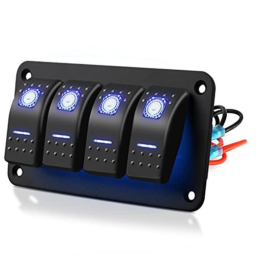 EEEKit Pannello interruttori a bilanciere a 4 Bande, interruttori a levetta on-off a 5 Pin Impermeabili 12V / 24V con Luce a LED Blu per Camion per Veicoli nautici per Camper