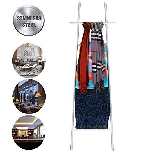 M-TOP Ladder Deken Rack Zwart, Wandleunend Handdoek Ladder Rack, 6 Bar Quilt Rack Ladder Plank RVS Met 2 Haken, Decoratieve Ladder voor Kousen, Kleding en Tijdschriften