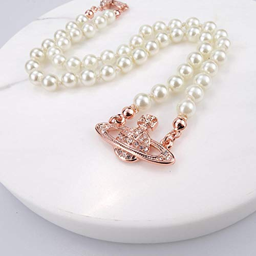 Fnho Crystal Rhinestone Saturn,Pearl Necklaces White Planet Crystal,Collar de Perlas Saturno, Cadena de clavícula de Diamantes Brillantes-C_Upgrade Pack