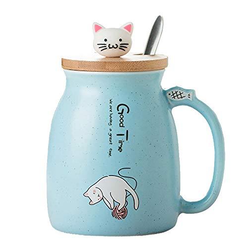 TopGearWorld 450ml Kaffeetasse Wasser Tee Tasse Blau Katzenform Milch Becher Keramik Tea Cup mit Löffel und Deckel für Getränke Bier Fruchtsaft Geschenk Büro Frühstück Haferflocken