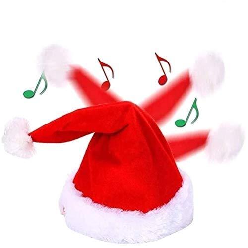 Naduew Christmas Flush Hat, Cappello da Babbo Natale Musicale Elettrico per Natale Costume da Festa Bomboniere Decorazione Regalo, Danza Cantando Cappellini Divertenti