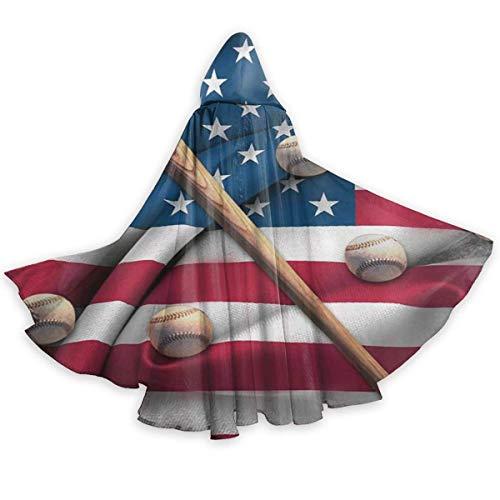 985 Cape Baseballschläger Auf Amerikanischer Nationalflagge Cloak Karneval Dress Hooded Halloween Wicca Robe Fancy Dress Cosplay Weihnachten Anstellen